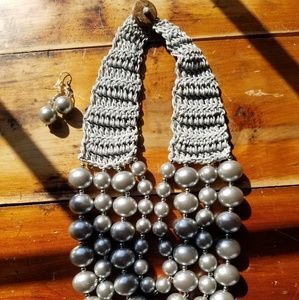 Silvertone Pearlized Beaded Necklace & Earring Set